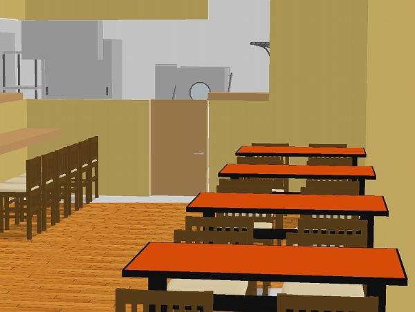 中華料理店 3D厨房レイアウト例