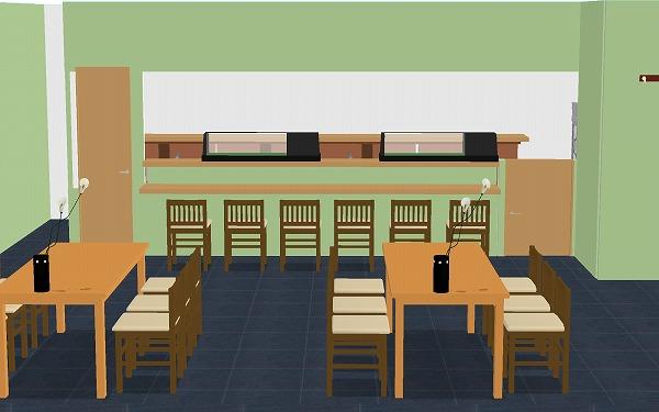 寿司屋 3D厨房レイアウト例
