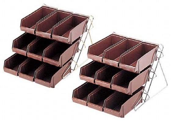 744-09 ENDO 18-8エコノミー オーガナイザーセット3段3列 ブラウン 167000080