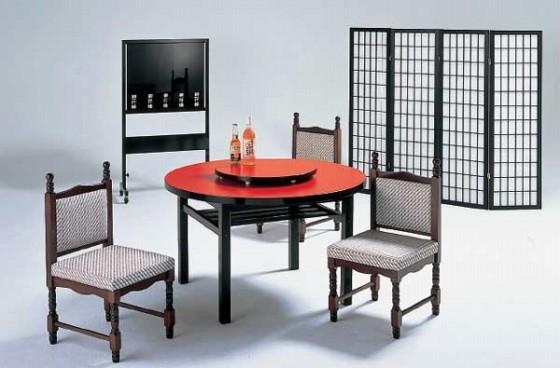 1289-01 丸メラミン朱 中華テーブル(木製棚付脚) 9-92-11 550002690