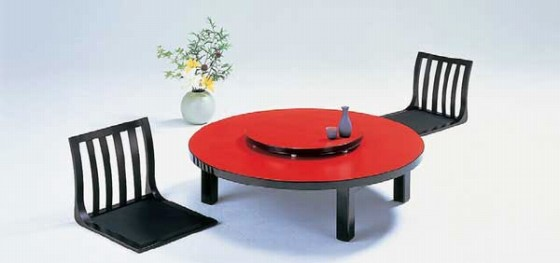 1289-04 丸メラミン朱 中華テーブル(折脚) 9-91-7 550002790