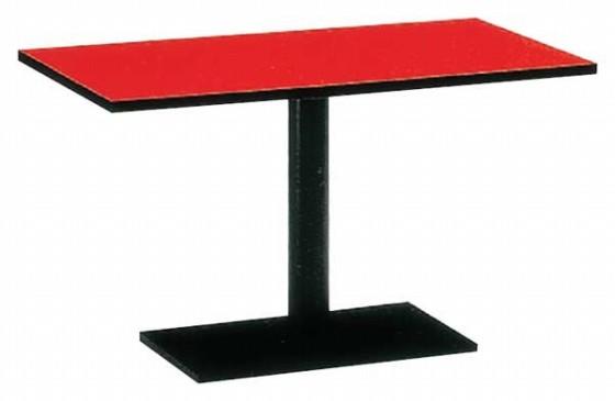 1289-06 メラミン朱 テーブル スチール脚(アジャスター付) 9-92-4 550002840